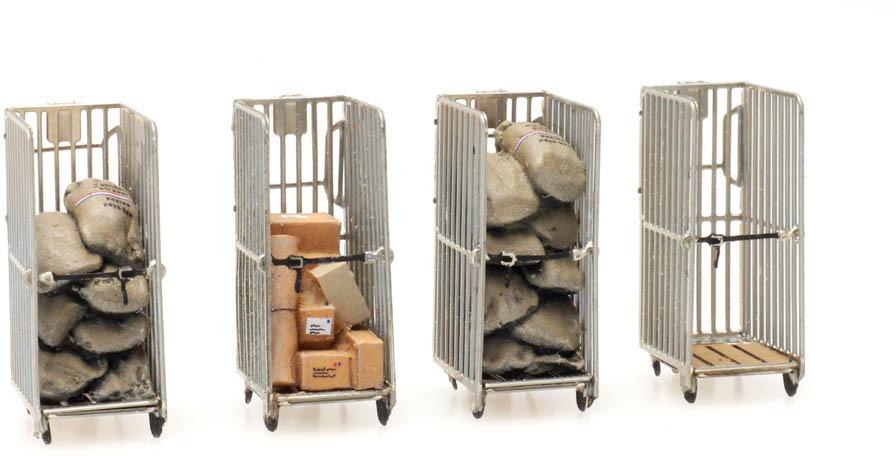 Post Rollcontainer (4x) 1:87  Fertigmodell aus Resin, lackiert