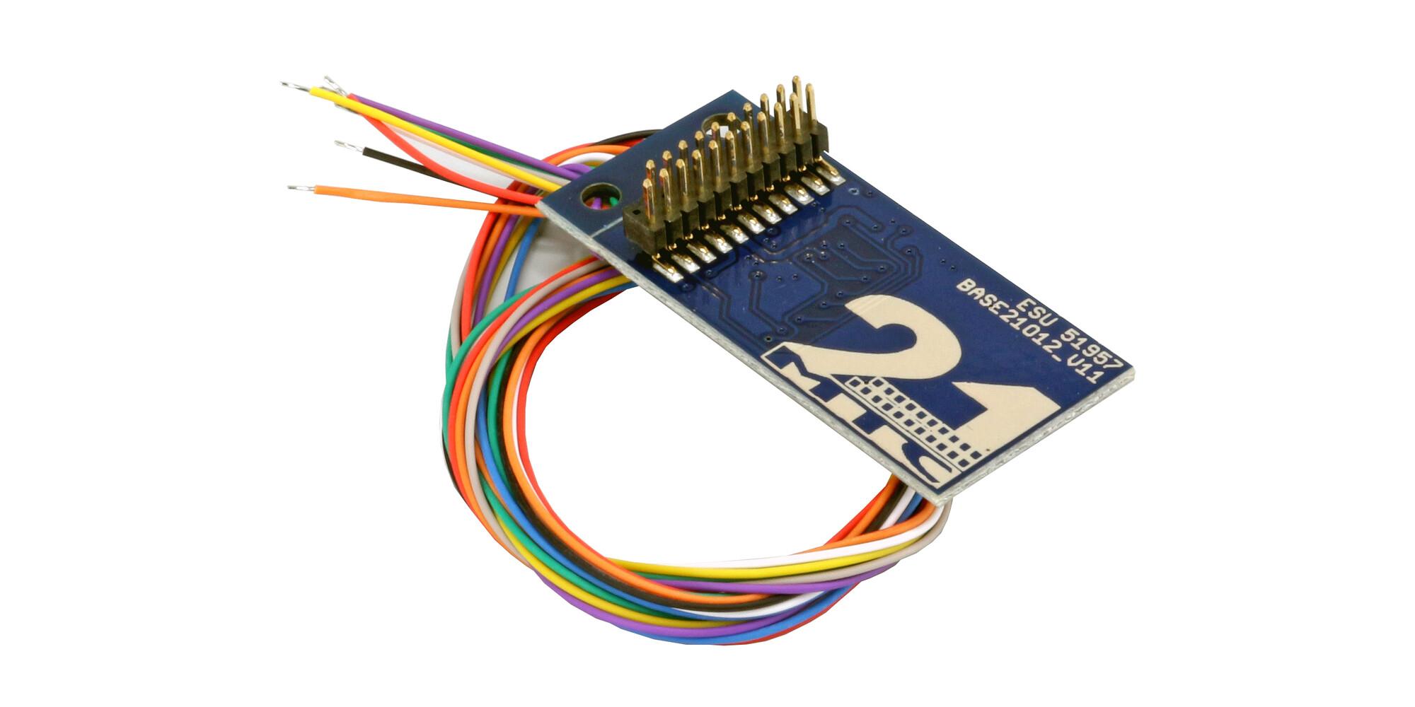 ESU-Elektronik 51957 Adapterplatine 21MTC für 8 verstärkte Ausgänge, Lötkontakten und angelöteten Ka