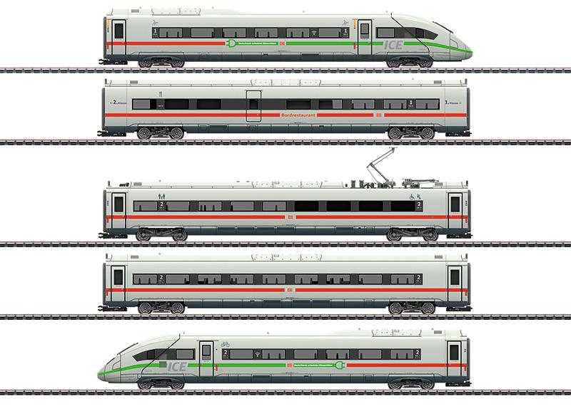 Märklin 39716 Triebwagenzug ICE 4 Baureihe 412/812 mit grünem Streifen