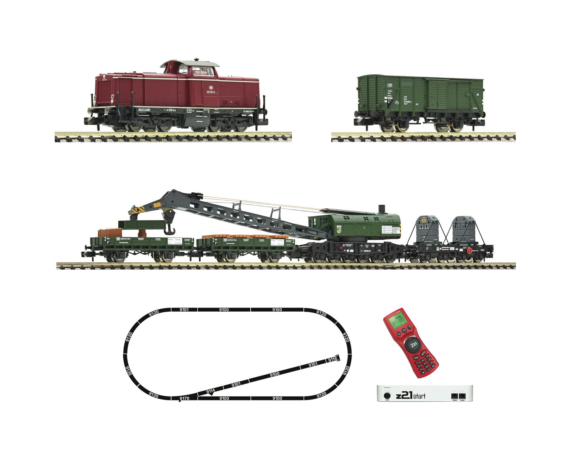 Fleischmann 931899 z21 start Digitalset: Diesellokomotive BR 212 mit Bauzug