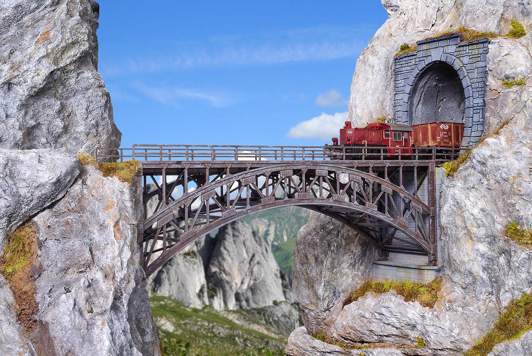 Vollmer 42548 H0 Stahlbogenbrücke Schlossbach, gerade