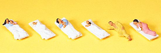 Preiser 10300 Liegende Fahrgäste für Schlaf